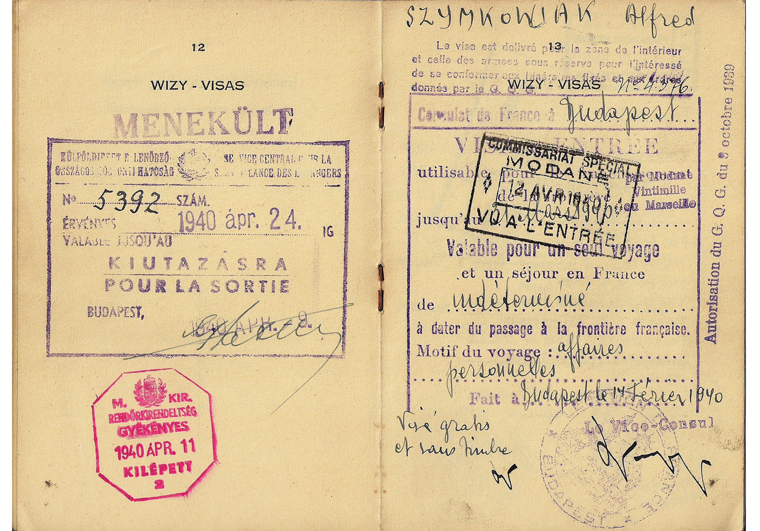WW2 Hungarian refugee document visa
