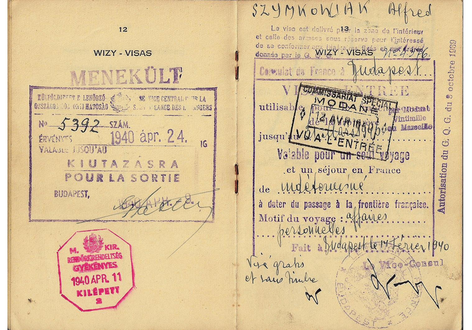 WW2 Hungarian refugee document visa