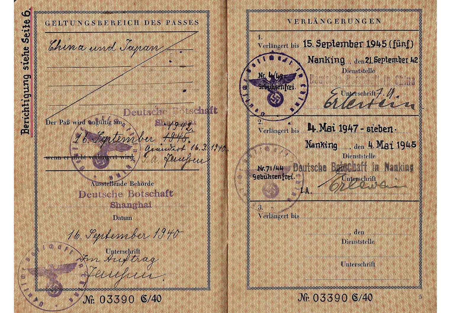 WW2 German Dienstpass passport