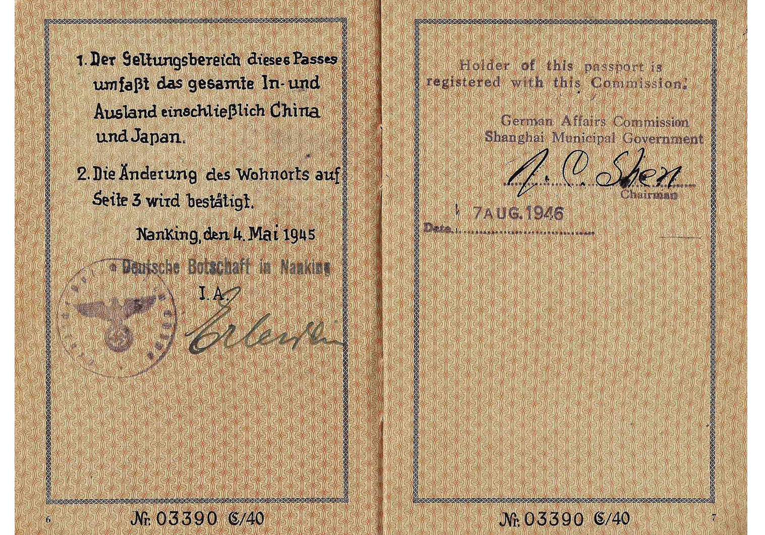 WW2 German passport China