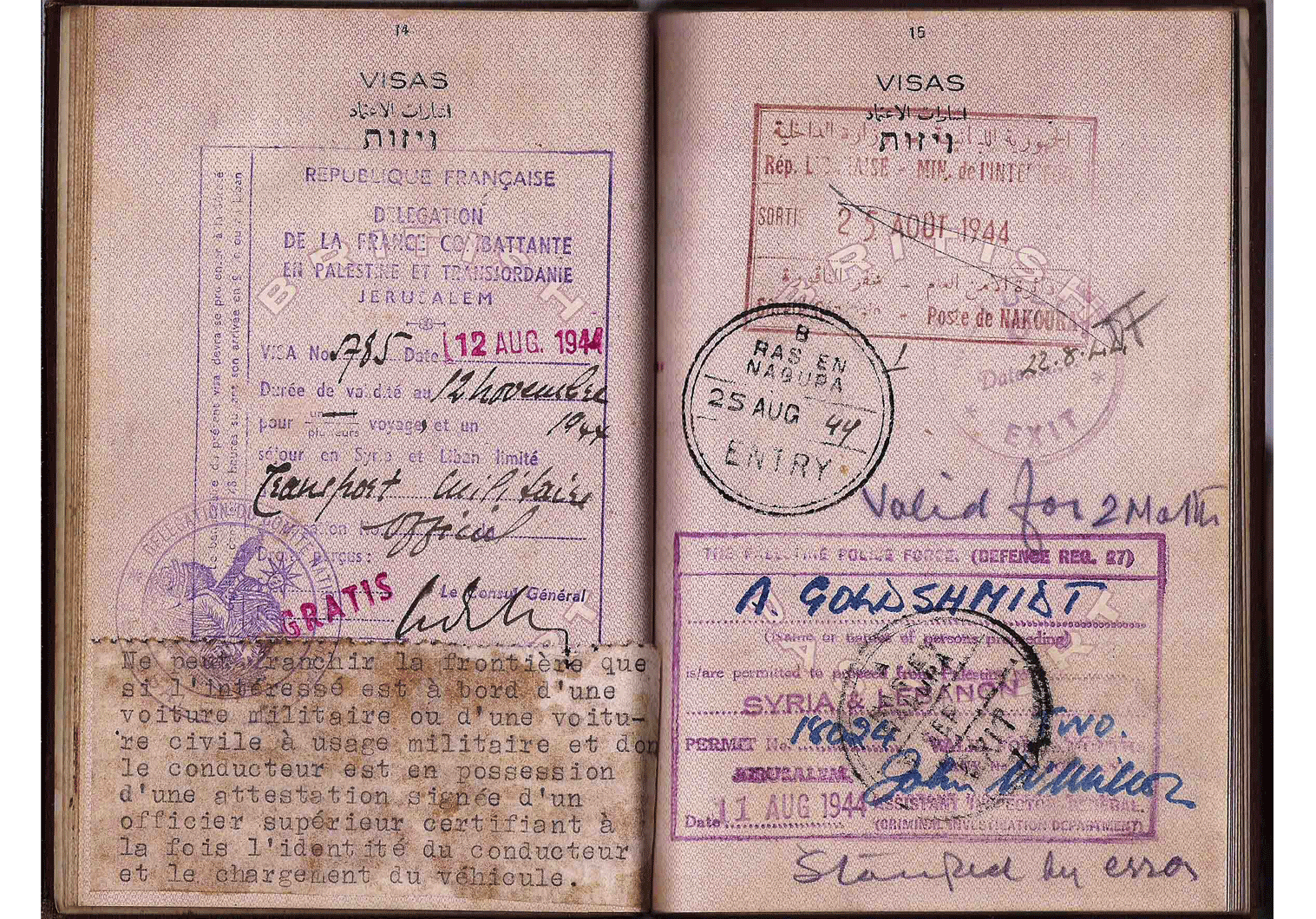 WWII French passport visa