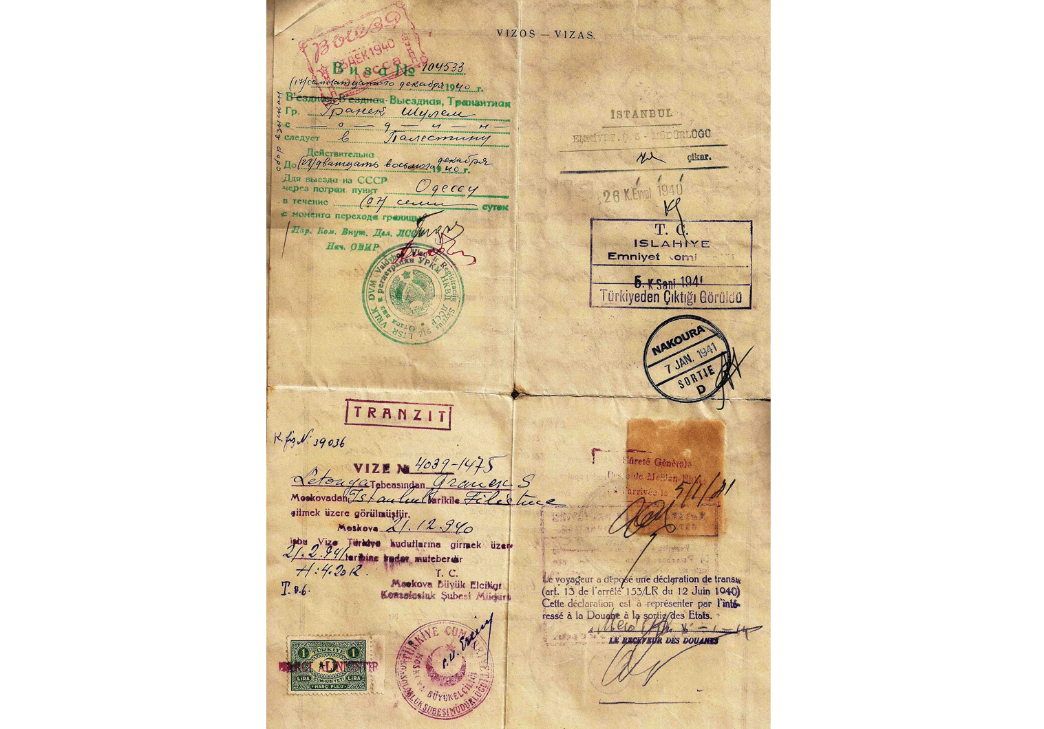 1940 Lithuanian Refugee travel certificate