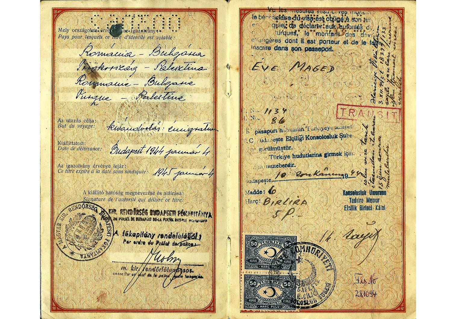 1944 Hungarian passport