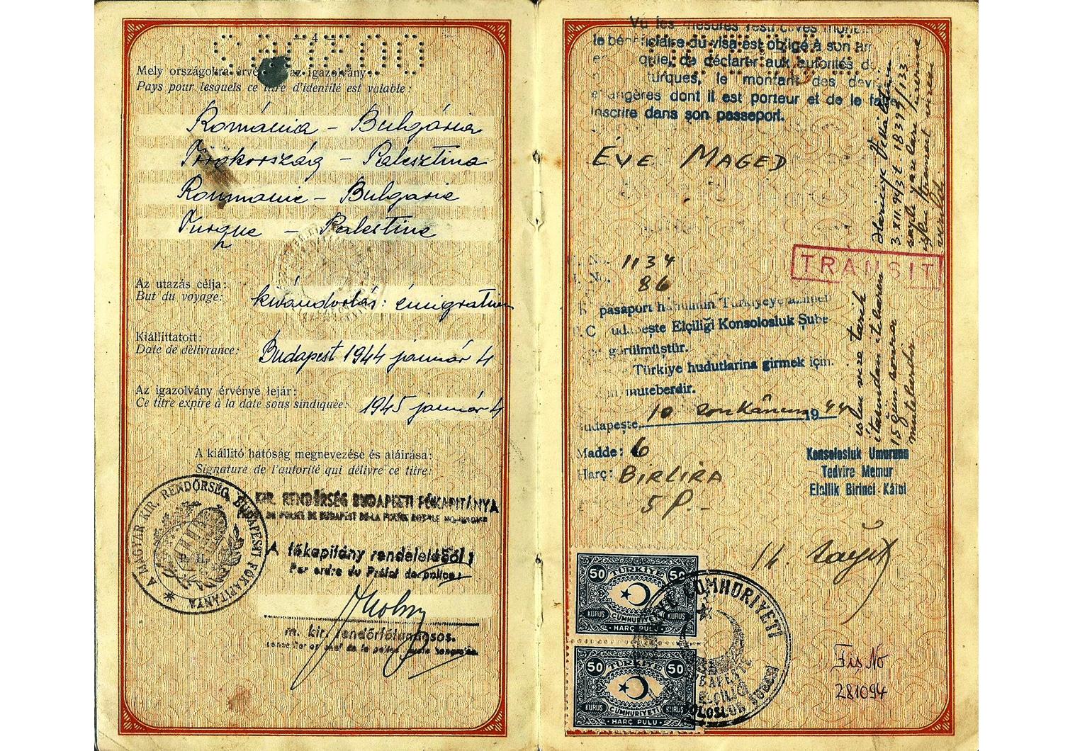 1944 Hungarian passport