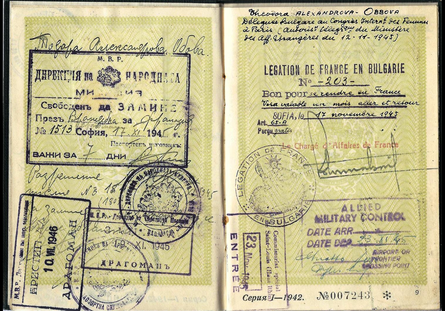 Post-war women's international conference passport