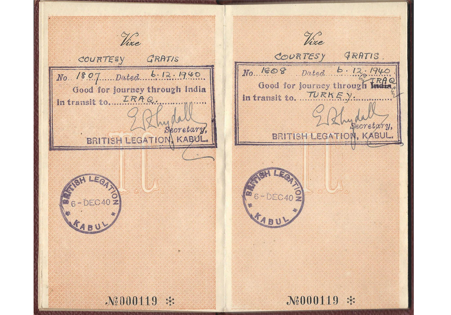 WW2 special passport for Afghanistan.