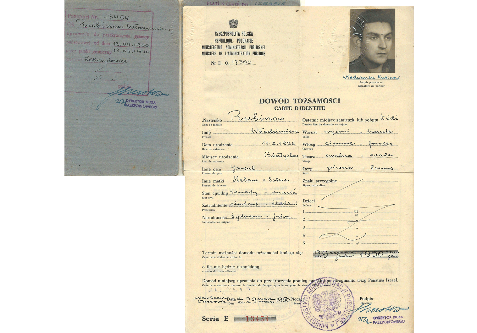 1950 Polish Jewish travel identity document