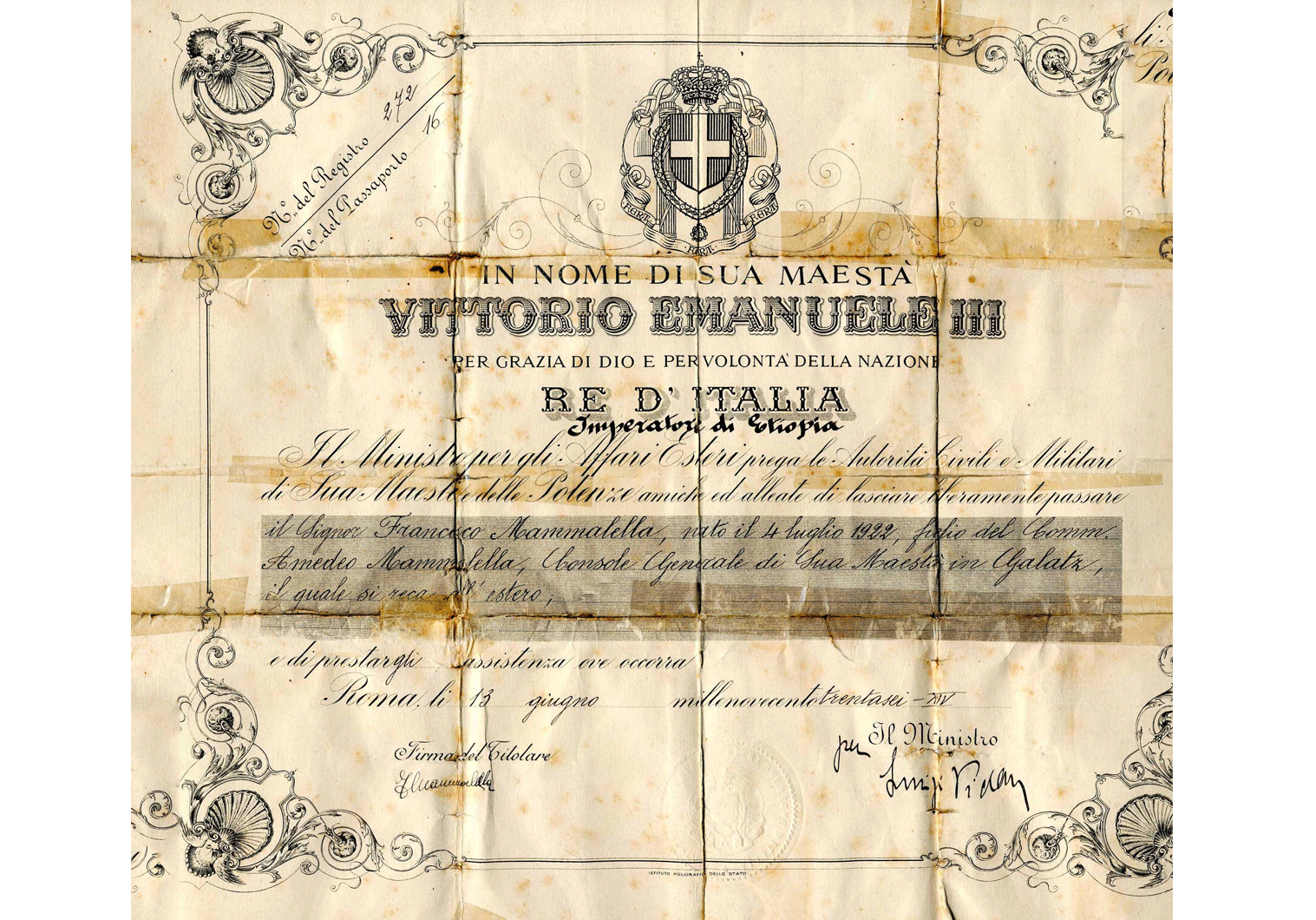 Fascist Italy special official passport
