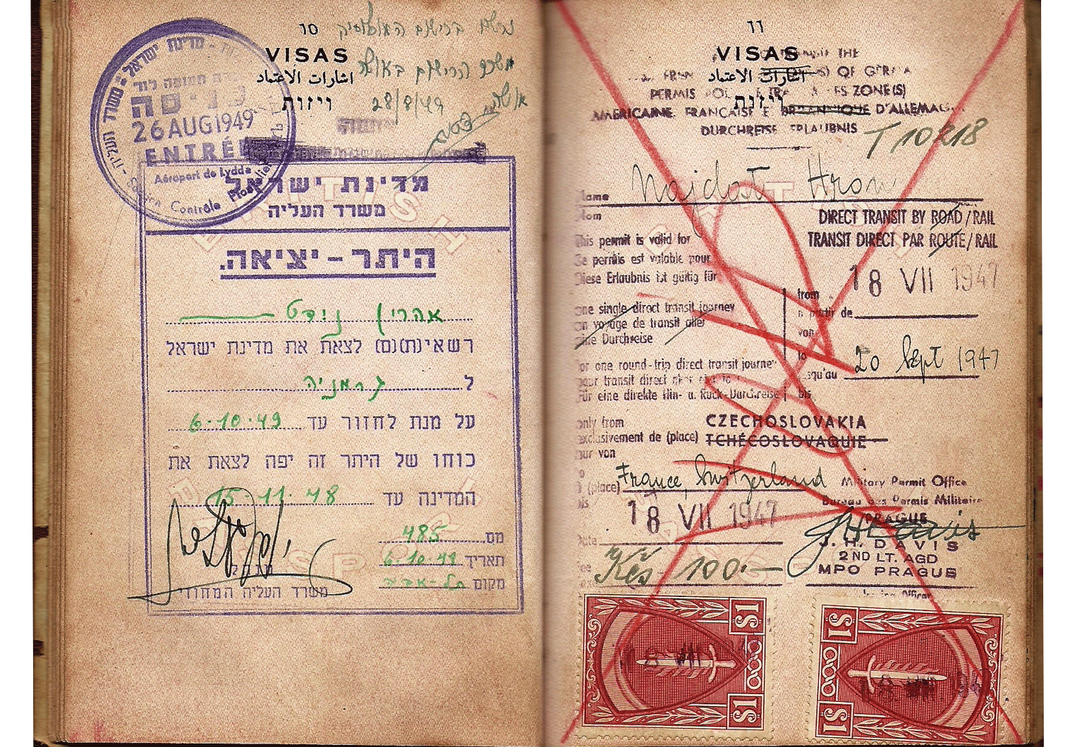 1948 early Israeli visa inside a passport