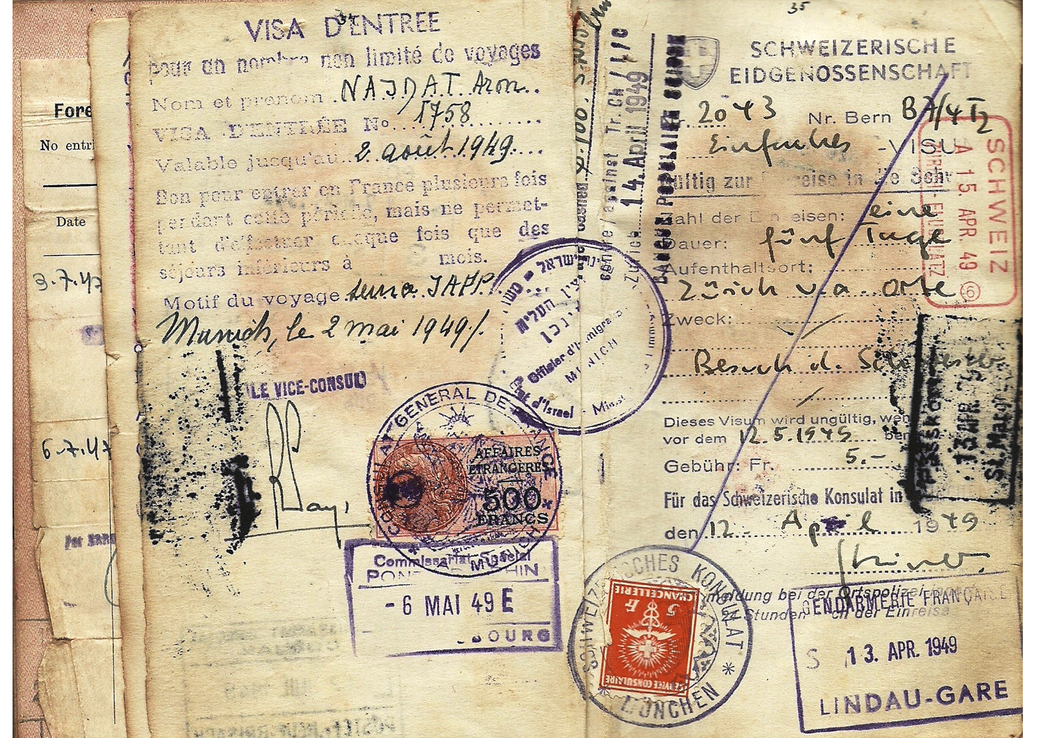 1948 early Israeli official visa inside a passport