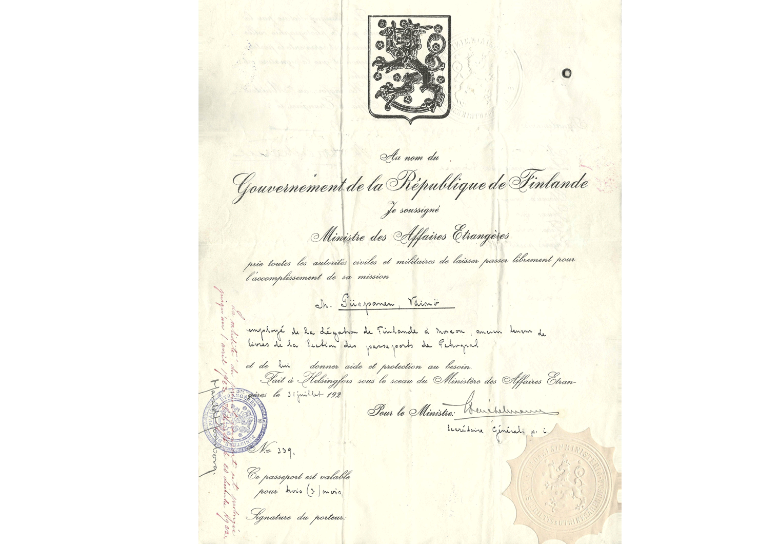 early Finnish diplomatic passport