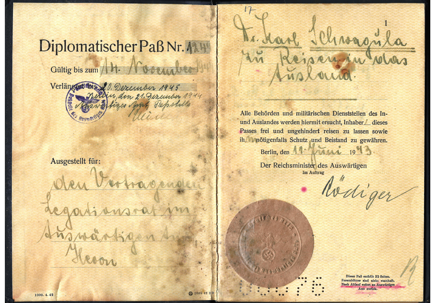 1943 German Diplomatenpass.