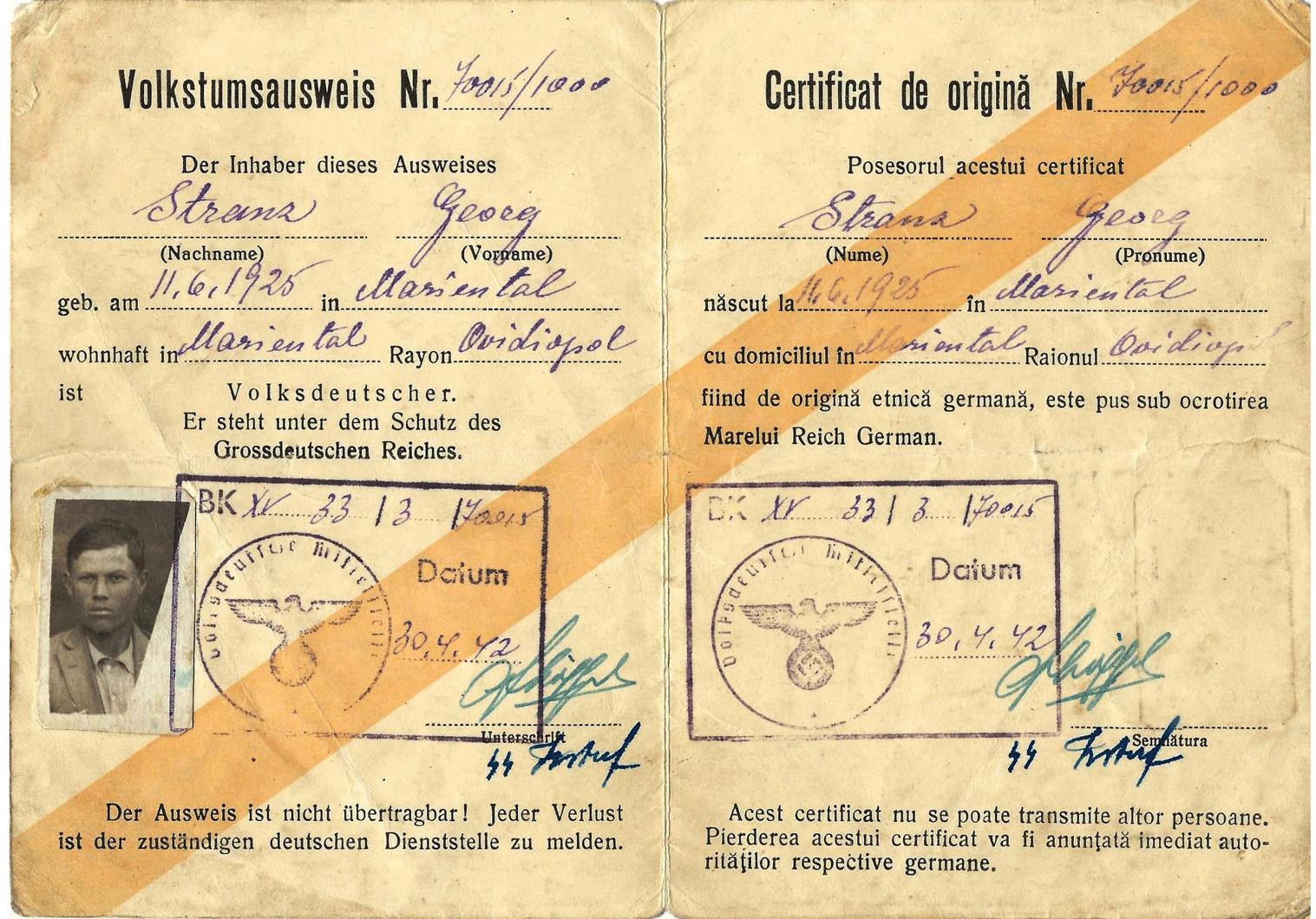 SS Volksdeutsche ausweis from Romania