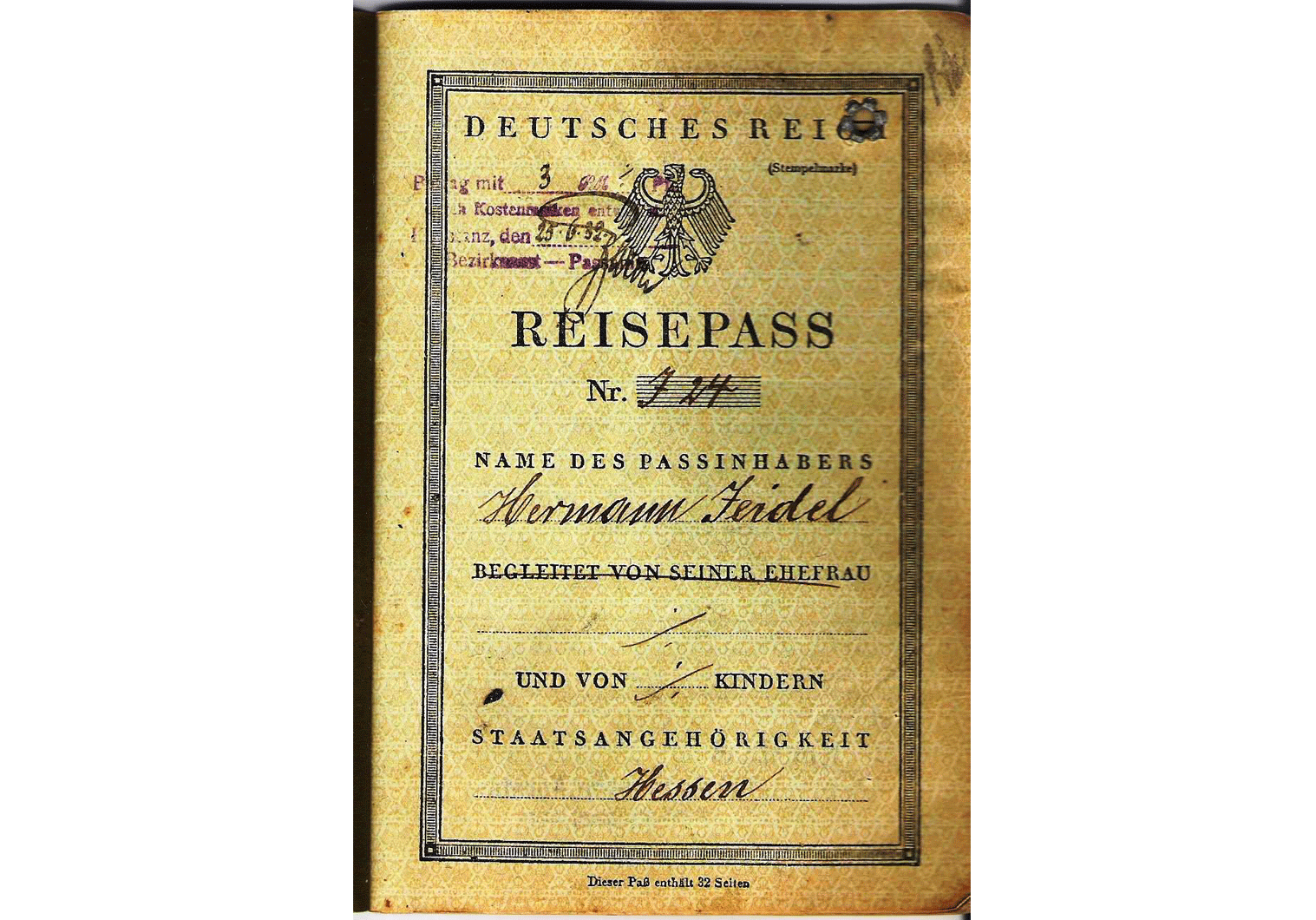 Late Weimar Republic passport