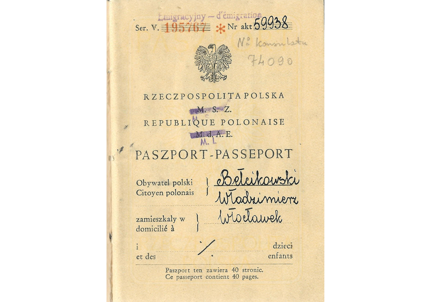 Late Polish Republic passport