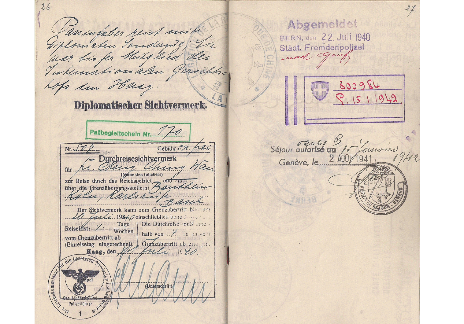 WW2 German visa