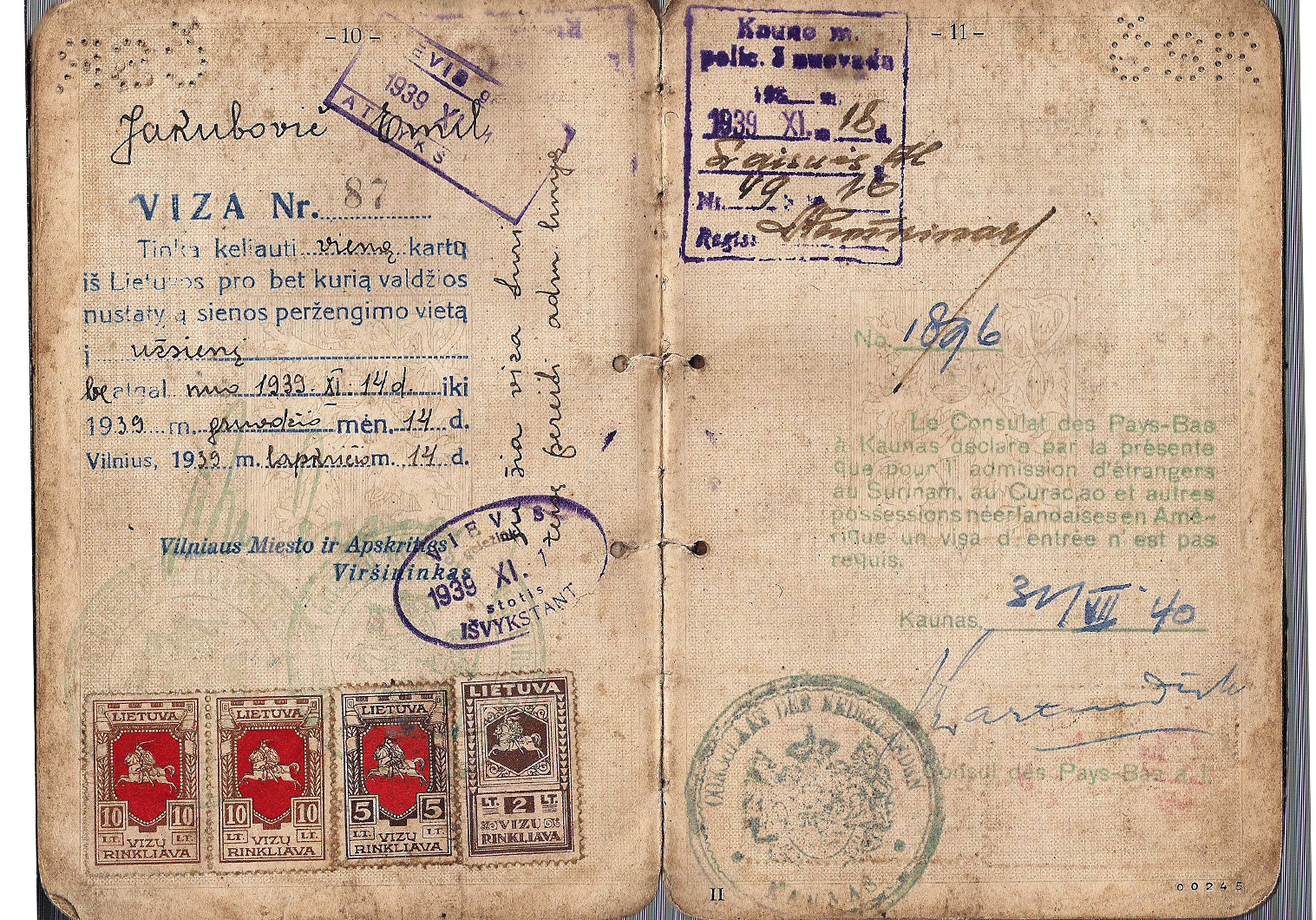 Important short-lived WWII related visa