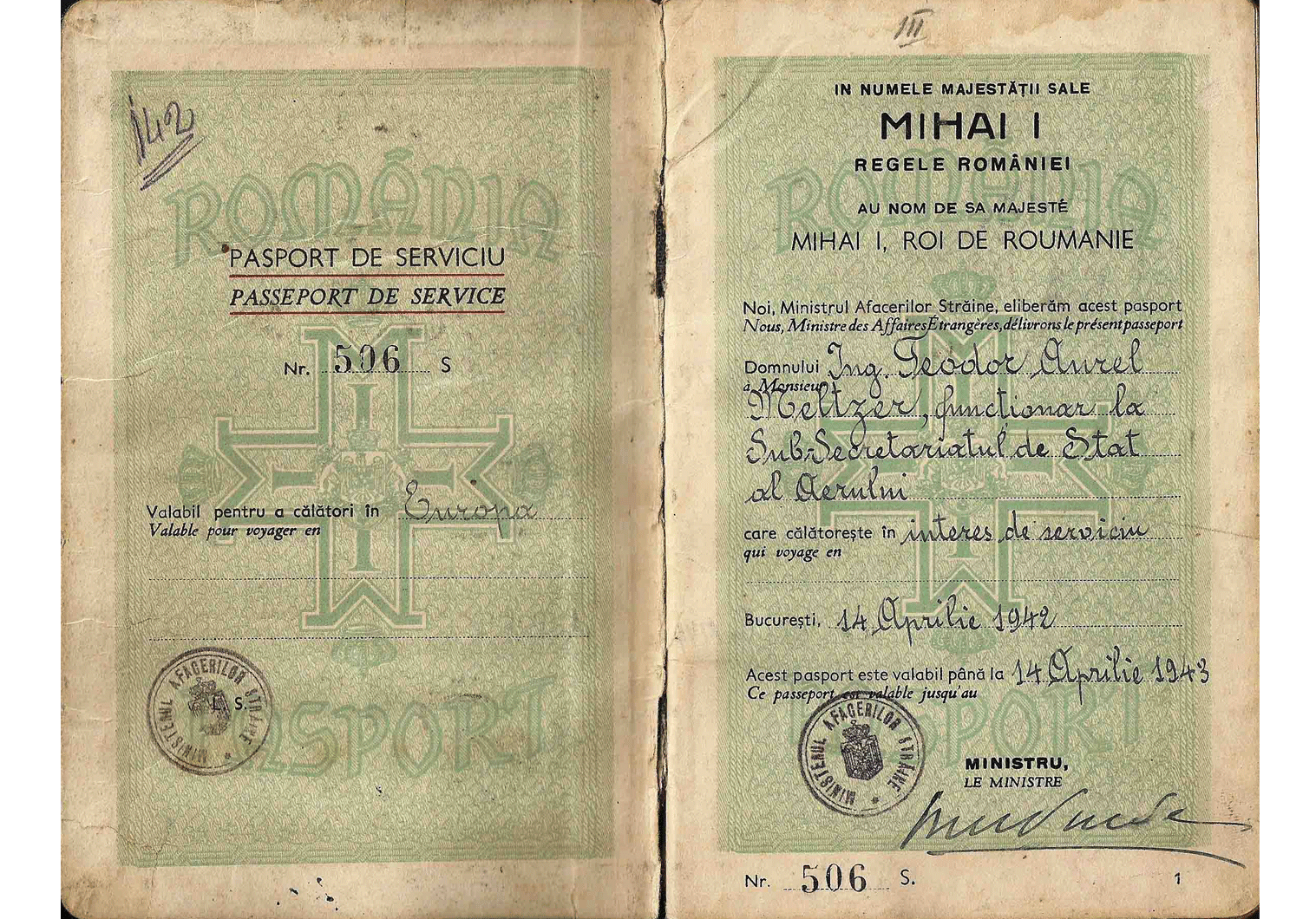 WW2 Romanian service passport
