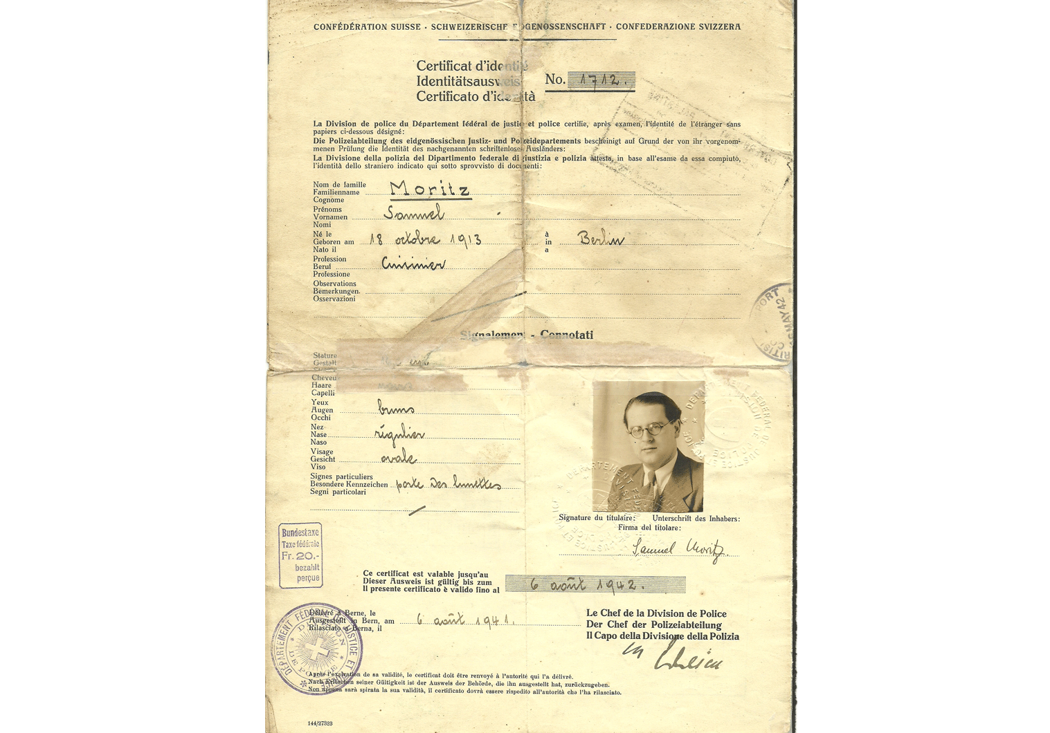 1941 Swiss Identity Document