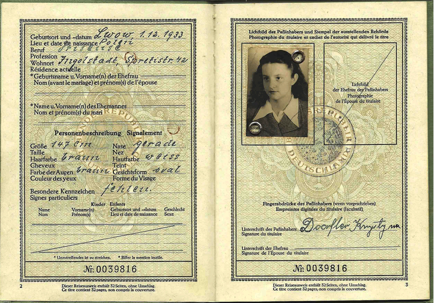 1952 Refugee travel document