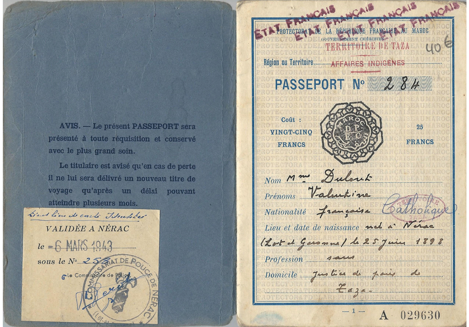 Vichy France passport