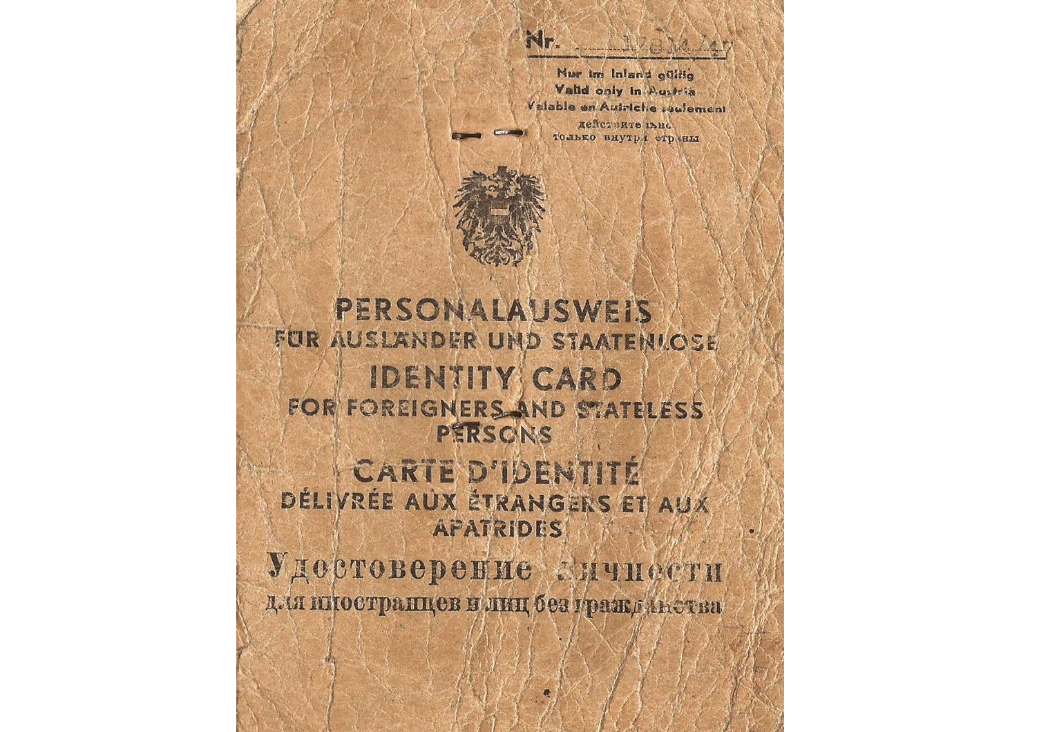 post-war Austrian stateless ID document