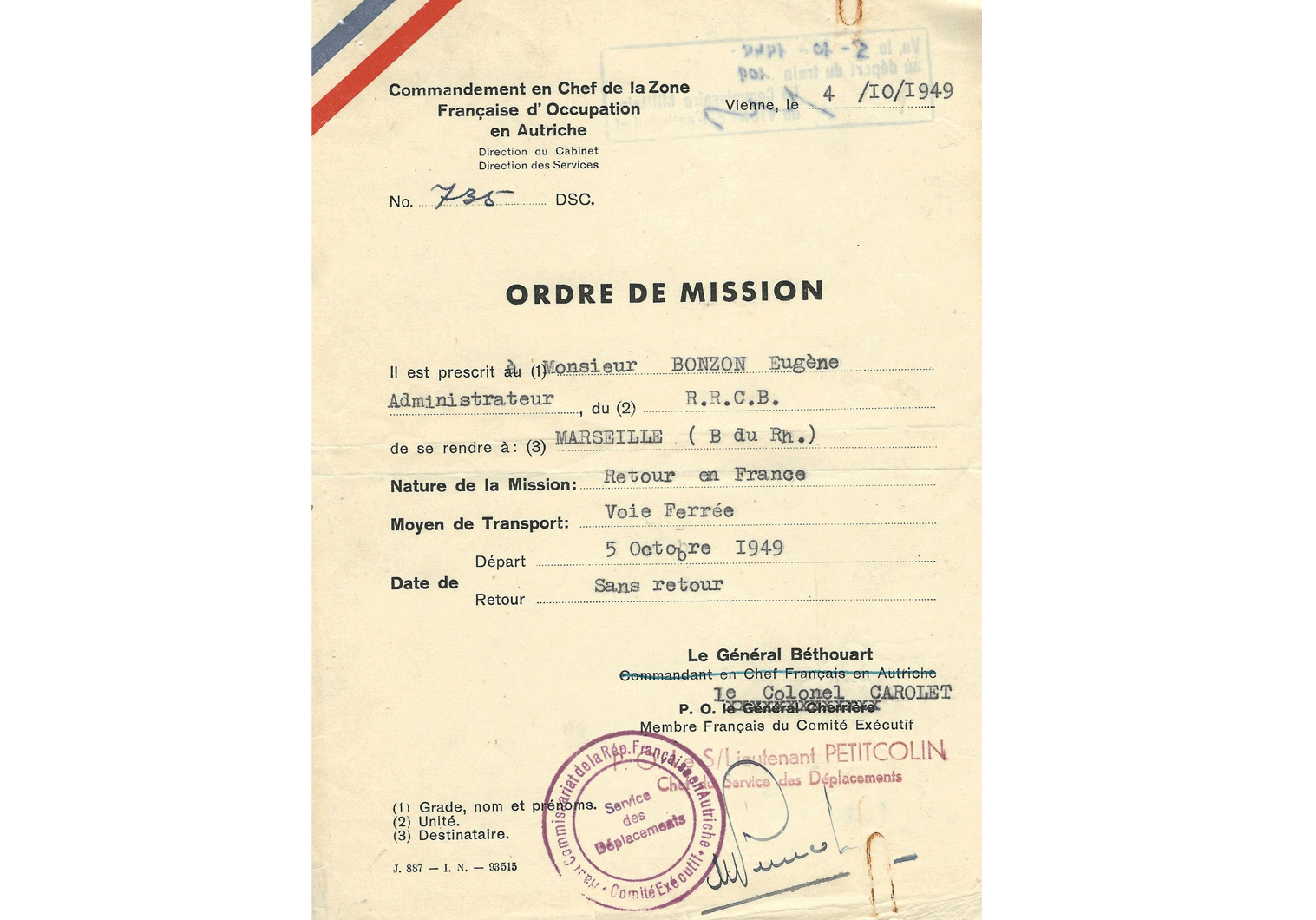 Post-War passport for Vienna