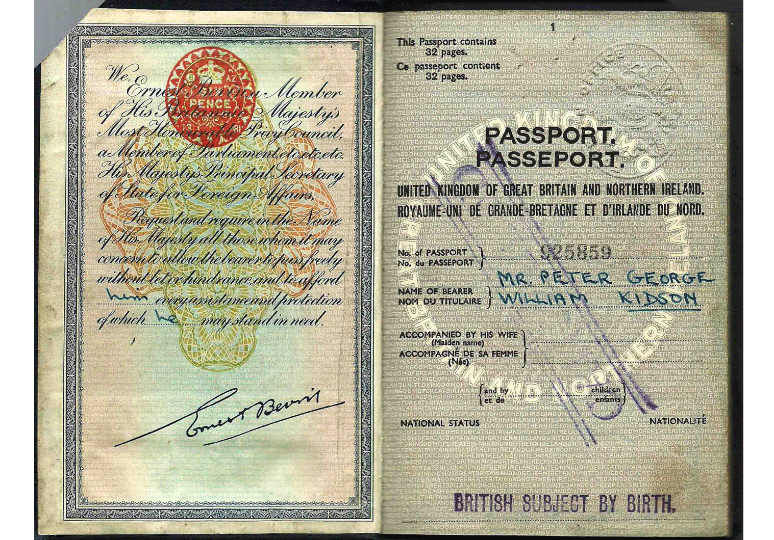 British Diplomatic passport