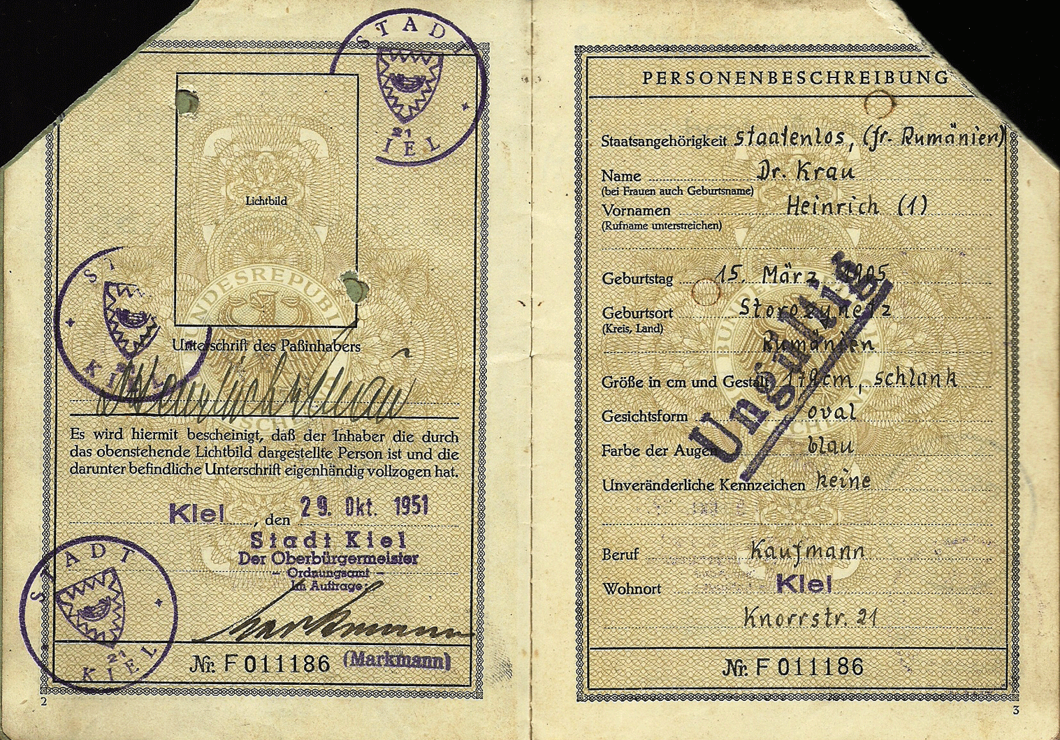 1951 early German passport  Fremdenpass