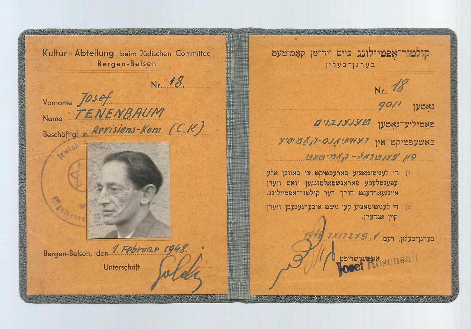 Bergen Belsen ausweis