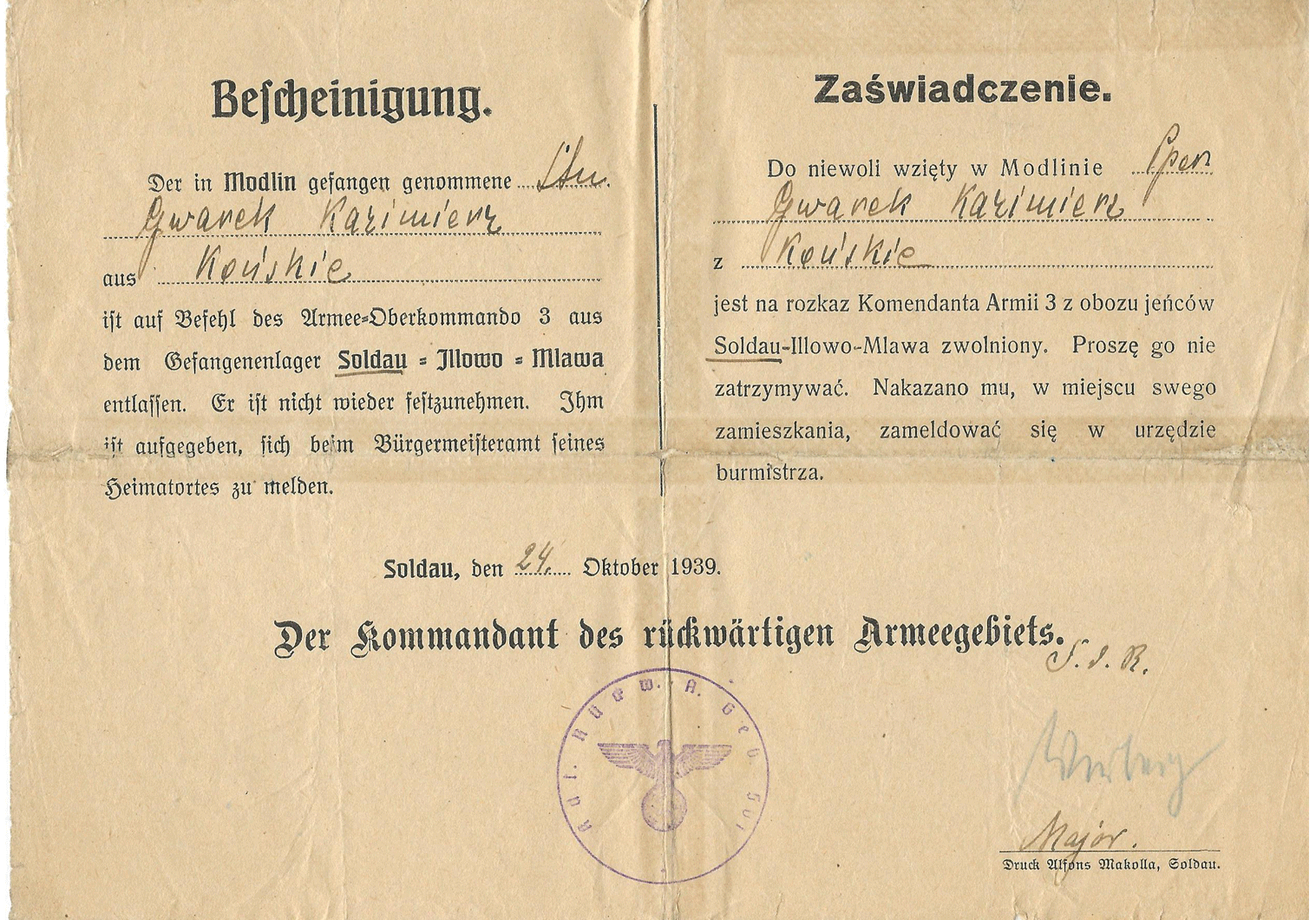 Soldau POW camp release certificate