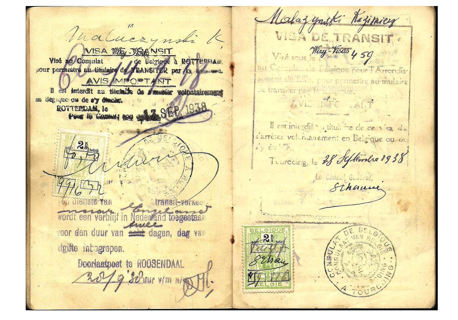 WW2 Belgium visa