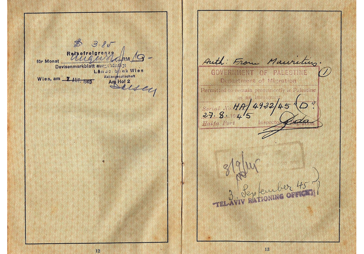 Mauritius Internment camp passport.