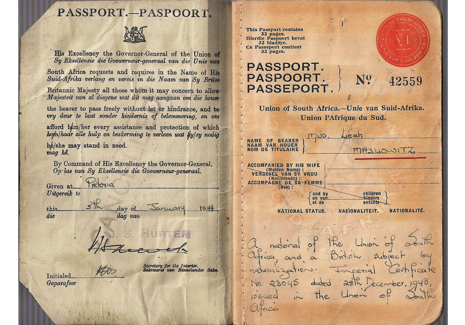 1944 issued South African passport
