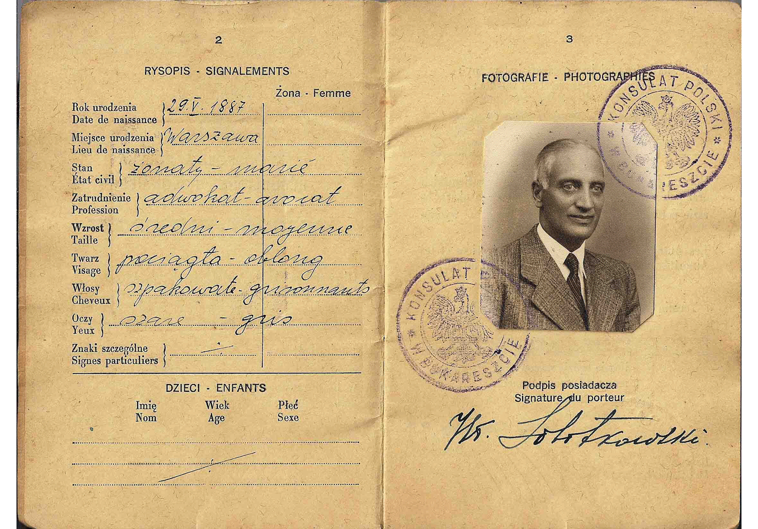 Officer's passport issued in Bucharest
