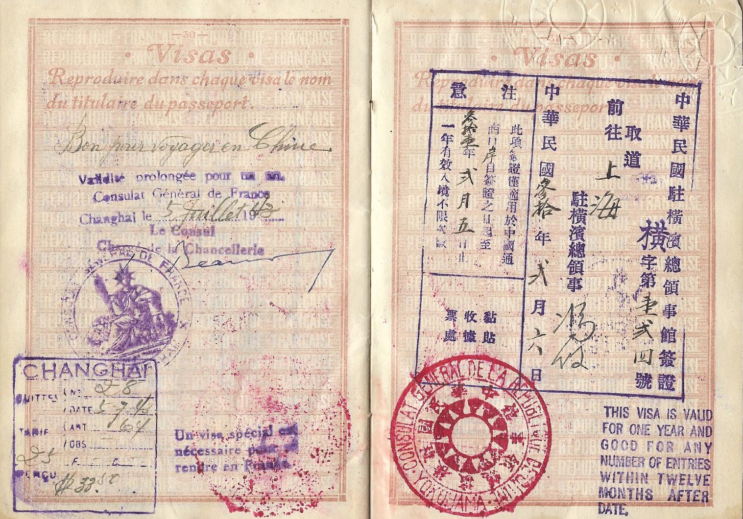 WW2 Chinese visa